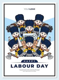 Modèle d'affiche de la fête du travail heureux avec le personnage de dessin animé mignon de la mascotte des travailleurs
