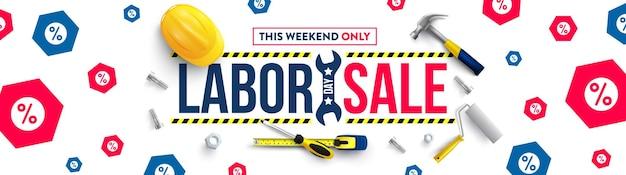 Modèle d'affiche de la fête du travailcélébration de la fête du travail des états-unis avec un casque de sécurité et des outils de construction