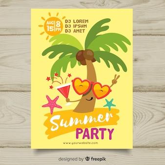 Modèle d'affiche fête estivale plat