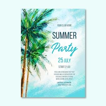 Modèle d'affiche de fête d'été aquarelle