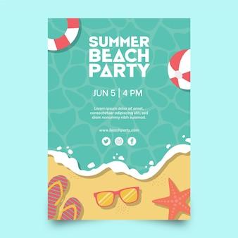 Modèle d'affiche de fête d'été au design plat