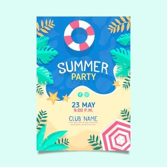 Modèle d'affiche de fête d'été design plat