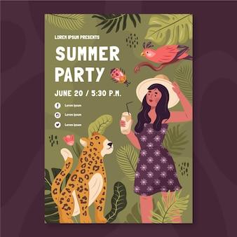 Modèle d'affiche de fête d'été dessiné à la main
