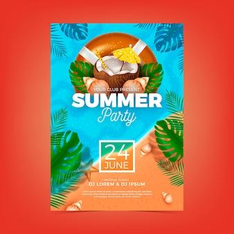 Modèle d'affiche de fête d'été avec des éléments réalistes
