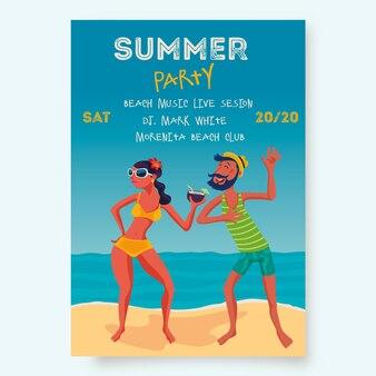 Modèle d'affiche de fête d'été avec des gens sur la plage
