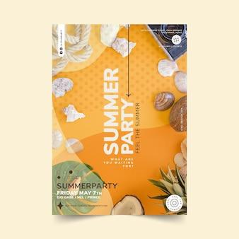Modèle d'affiche de fête d'été plat avec photo