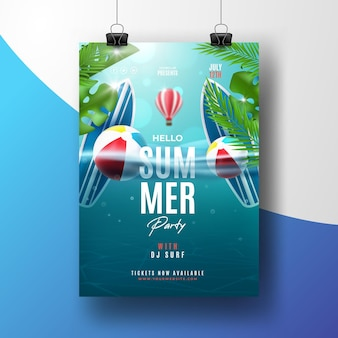 Modèle d'affiche de fête d'été réaliste