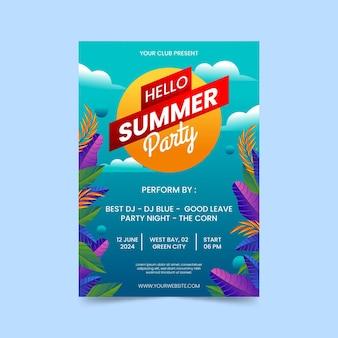 Modèle d'affiche de fête d'été vertical dégradé