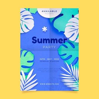 Modèle d'affiche de fête d'été verticale dans un style papier avec photo