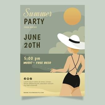Modèle d'affiche de fête d'été vintage