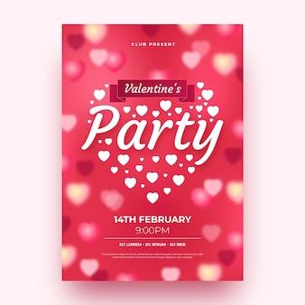 Modèle d'affiche de fête floue pour la saint-valentin