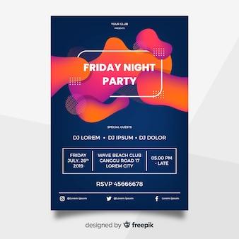 Modèle d'affiche de fête avec des formes abstraites