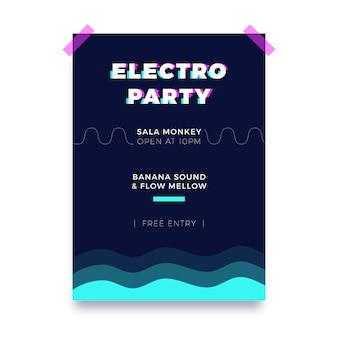 Modèle d'affiche de fête glitch abstrait