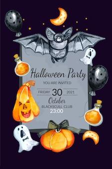 Modèle d'affiche de fête d'halloween aquarelle