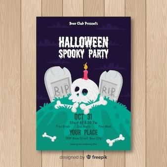 Modèle d'affiche de fête halloween dessiné à la main