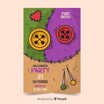 Modèle d'affiche fête halloween dessiné à la main