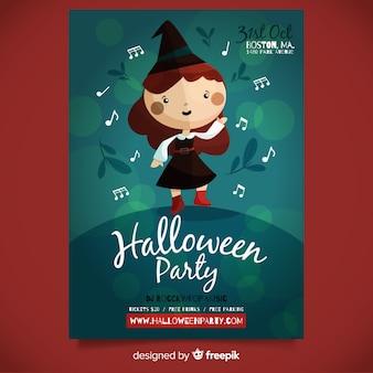 Modèle d'affiche de fête halloween formidable avec un design plat