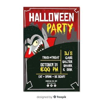 Modèle d'affiche de fête halloween moderne avec un design plat