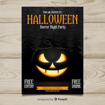Modèle d'affiche de fête halloween moderne avec un design réaliste