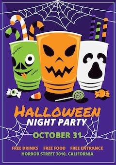 Modèle d'affiche de fête d'halloween plat dessiné à la main
