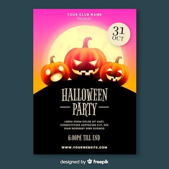 Modèle d'affiche de fête halloween réaliste