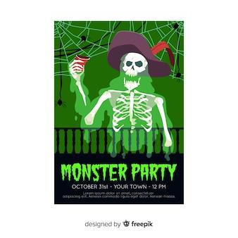 Modèle d'affiche fête halloween squelette dessiné à la main