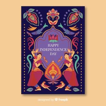 Modèle d'affiche fête de l'indépendance dans le style de l'art indien