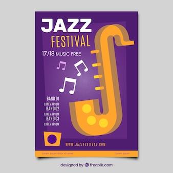 Modèle d'affiche fête jazz music