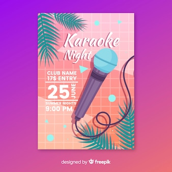 Modèle d'affiche fête karaoké à plat