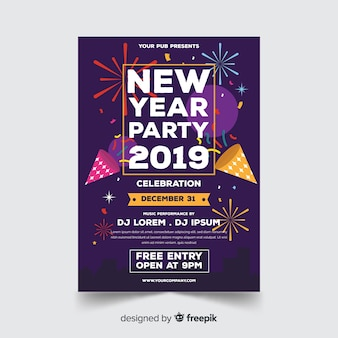 Modèle d'affiche fête moderne nouvel an avec design plat