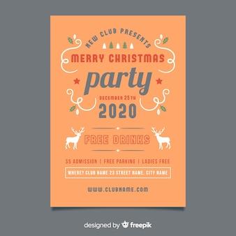 Modèle d'affiche de fête de noël design plat