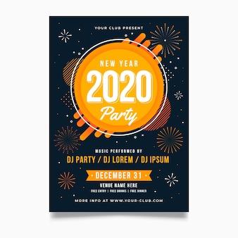 Modèle d'affiche fête nouvel an 2020 au design plat