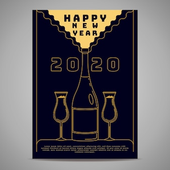 Modèle d'affiche fête nouvel an dans le style de contour