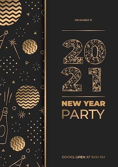 Modèle d'affiche de la fête d'or du nouvel an 2021