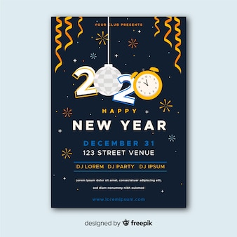 Modèle d'affiche fête parti design nouvel an