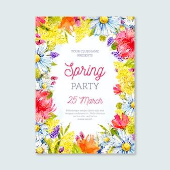 Modèle d'affiche de fête de printemps aquarelle