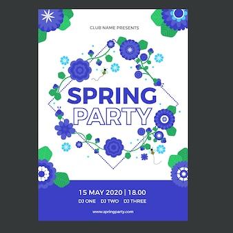 Modèle d'affiche de fête de printemps au design plat
