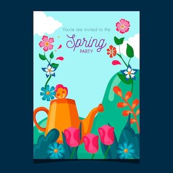 Modèle d'affiche de fête de printemps avec des fleurs et un arrosoir