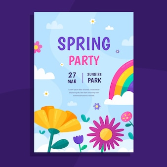 Modèle d'affiche de fête de printemps illustré