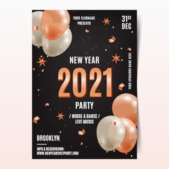 Modèle d'affiche de fête réaliste du nouvel an 2021