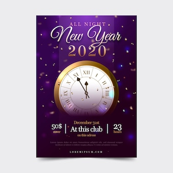 Modèle d'affiche de fête réaliste nouvel an