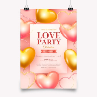 Modèle d'affiche de fête réaliste de la saint-valentin