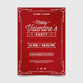 Modèle d'affiche fête saint valentin au design plat