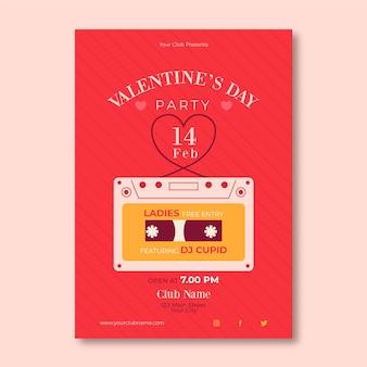 Modèle d'affiche de fête de la saint-valentin design plat