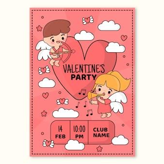 Modèle d'affiche de fête de la saint-valentin dessiné à la main