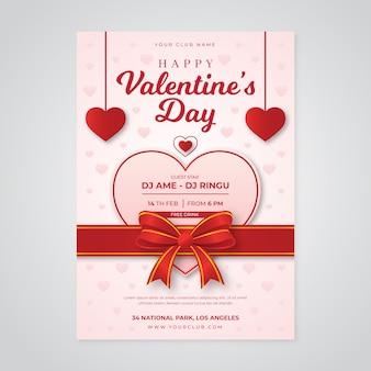 Modèle d'affiche de fête de la saint-valentin réaliste