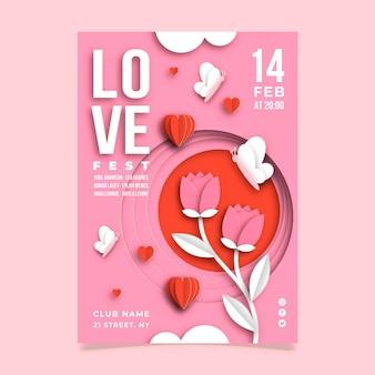 Modèle d'affiche de fête de la saint-valentin en style papier