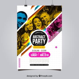 Modèle d'affiche de fête avec style abstrait