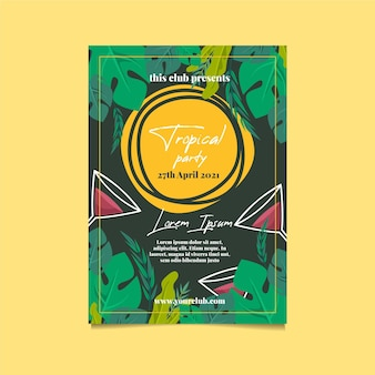 Modèle d'affiche de fête tropicale avec des feuilles et des cocktails