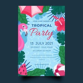 Modèle d'affiche de fête tropicale avec flamant rose et feuilles